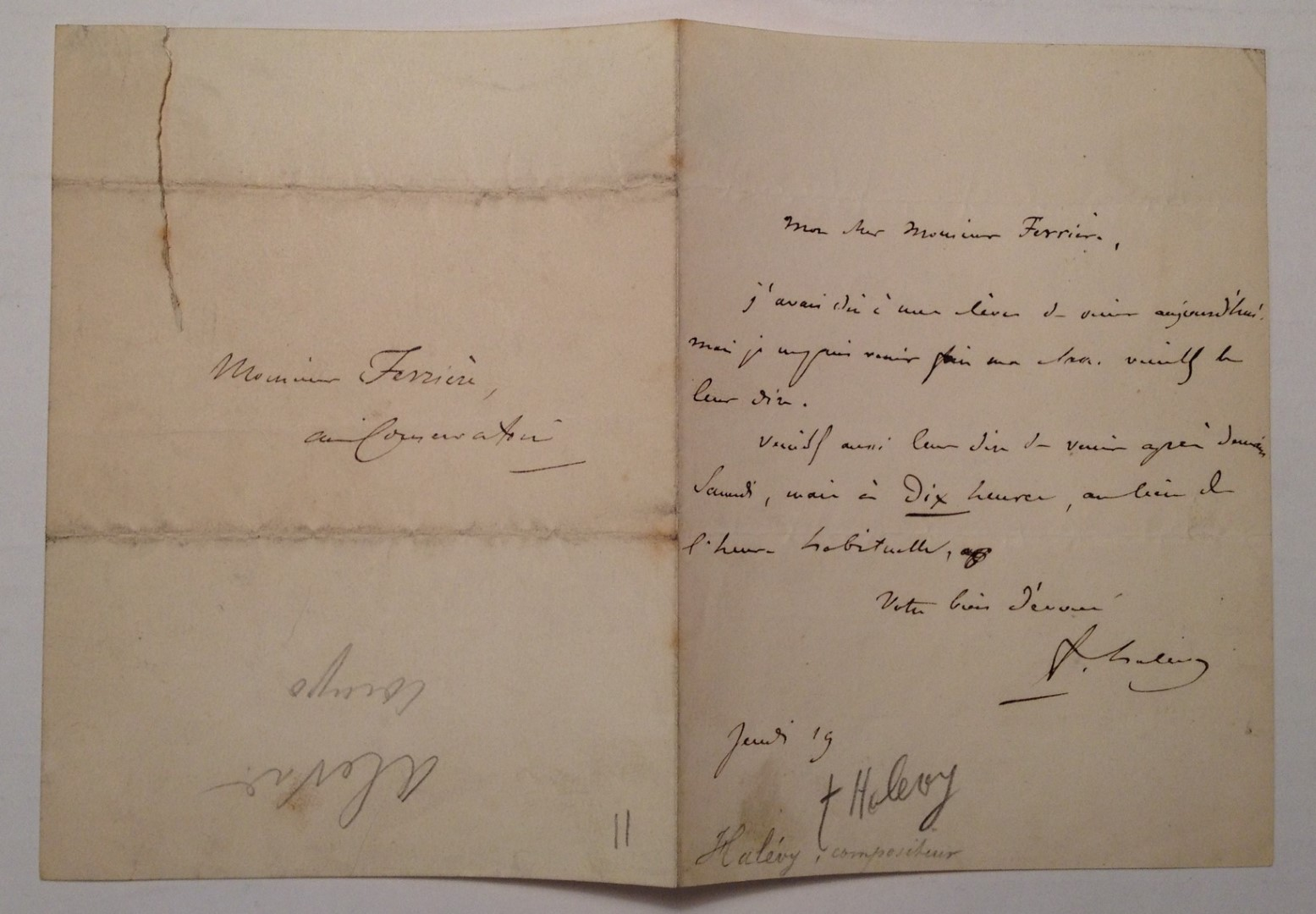 Apologetic Autographed Letter Signed by HALEVY, Jacques Fromental Elie Levy  on Argosy Book Store