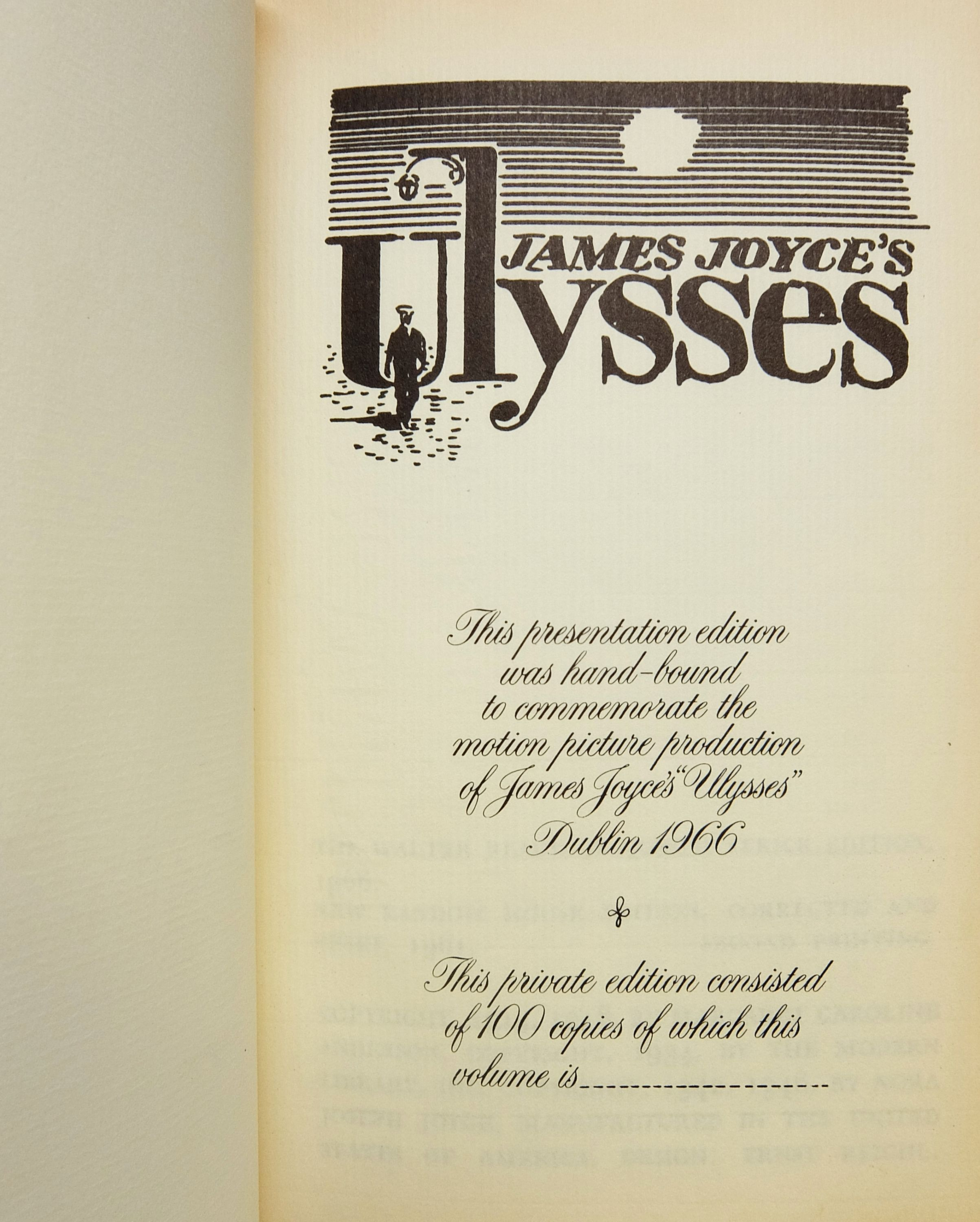 Ulysses A Presentation Edition Hand Bound To Commemorate The Motion Picture Production Of James Joyces Ulysses Dublin 1966 By James Joyce On Argosy