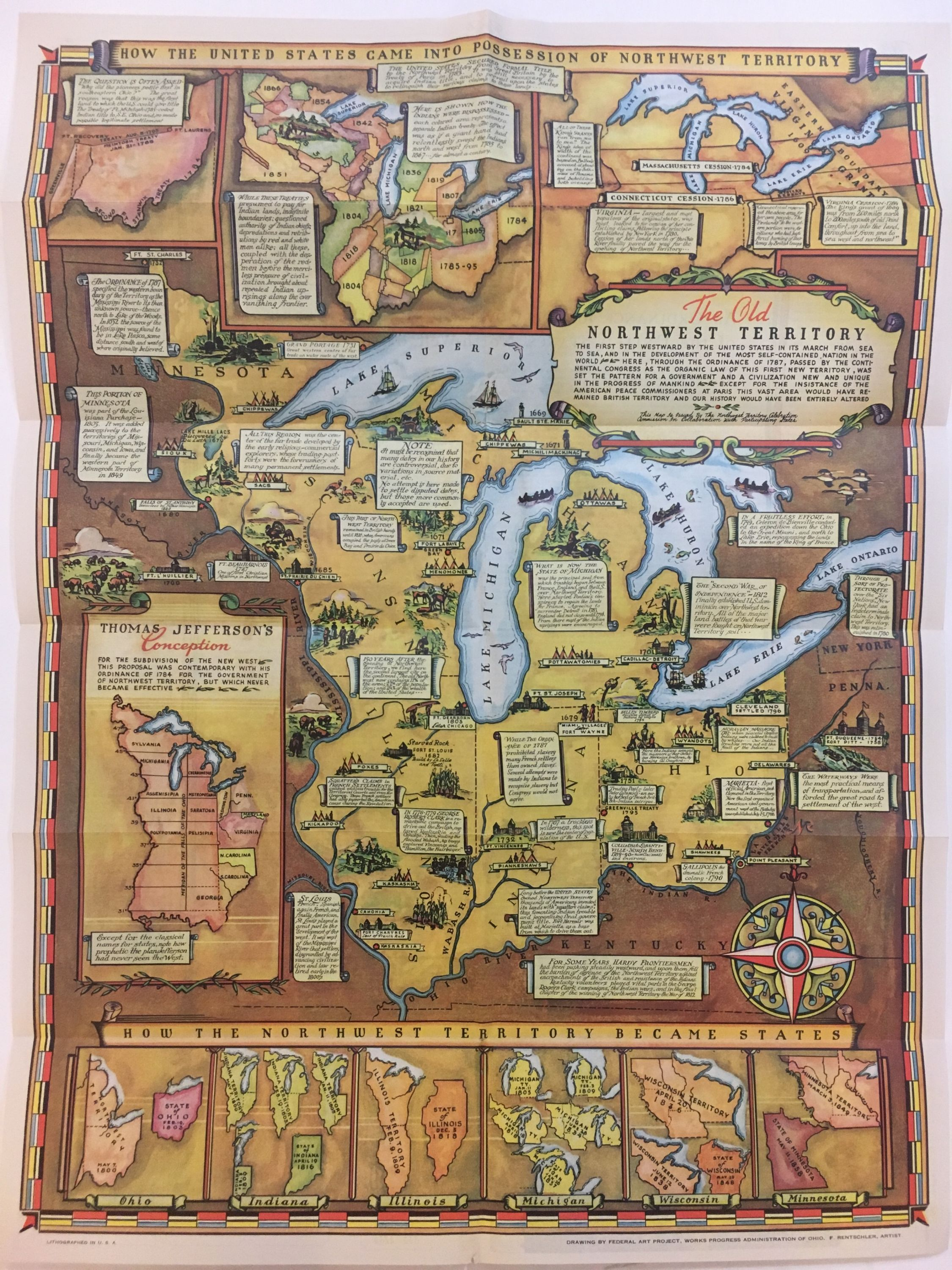 Early Pictorial Map Mexico City and Surroundings Aztec symbols Historic Poster