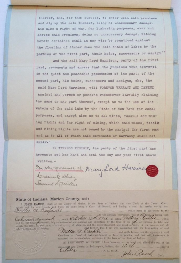 Signed Land Indenture. Mary Lord HARRISON, 1858 - 1948.