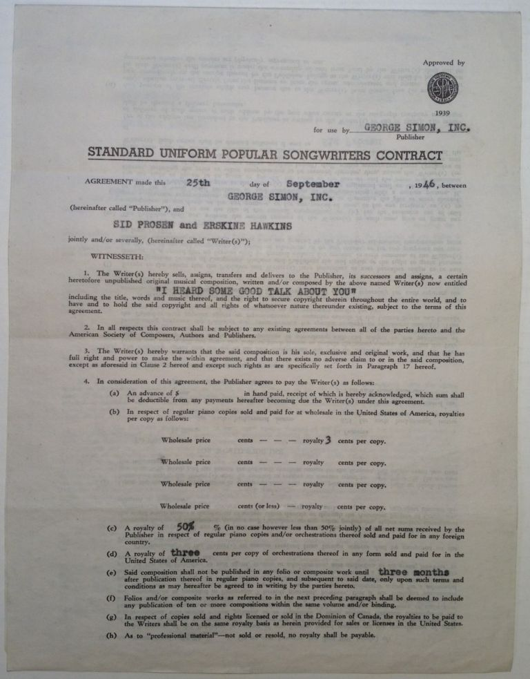 Signed Songwriters Contract. Erskine HAWKINS, 1914 - 1993.