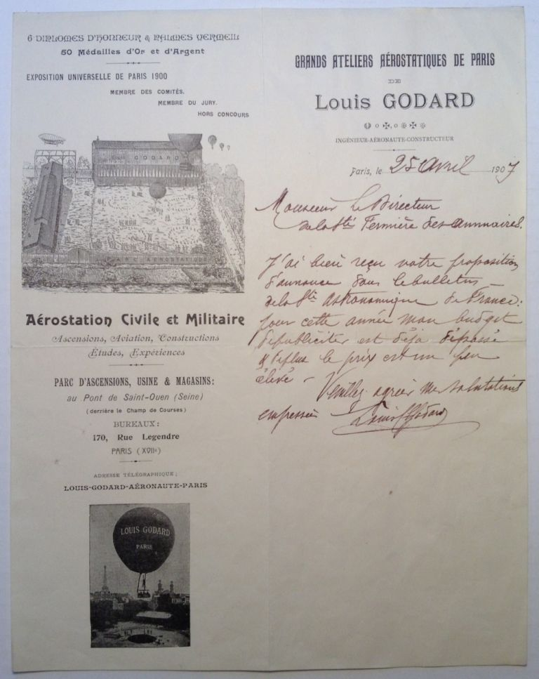 Autographed Letter Signed in French by the Ballooning Pioneer. Louis GODARD.