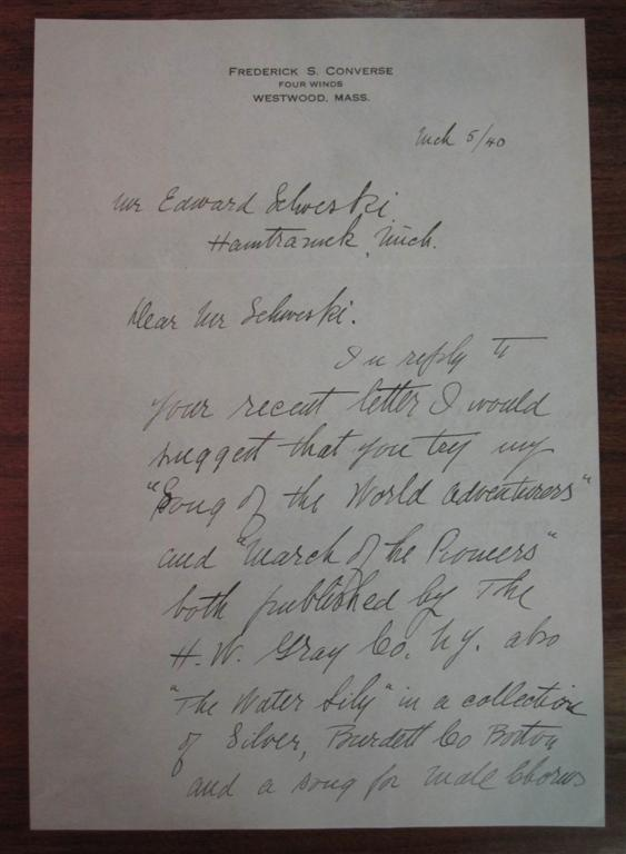 Autographed Letter Signed. Frederick S. CONVERSE.