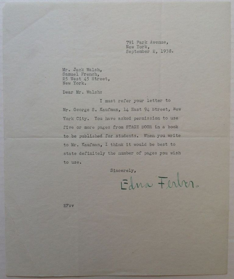 Typed Letter Signed to the Samuel French company. Edna FERBER, 1885 - 1968.