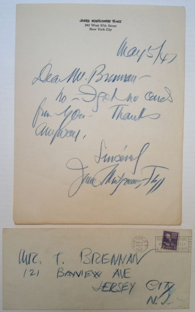 Autographed Letter Signed. James Montgomery FLAGG, 1877 - 1960.