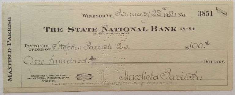 Signed Check. Maxfield PARRISH, 1870 - 1966.