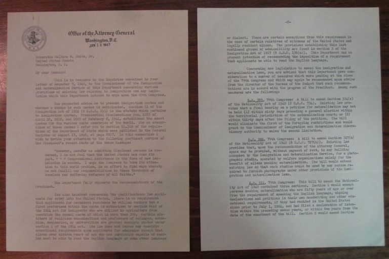 Typed Letter Signed as Attorney General. Tom CLARK.