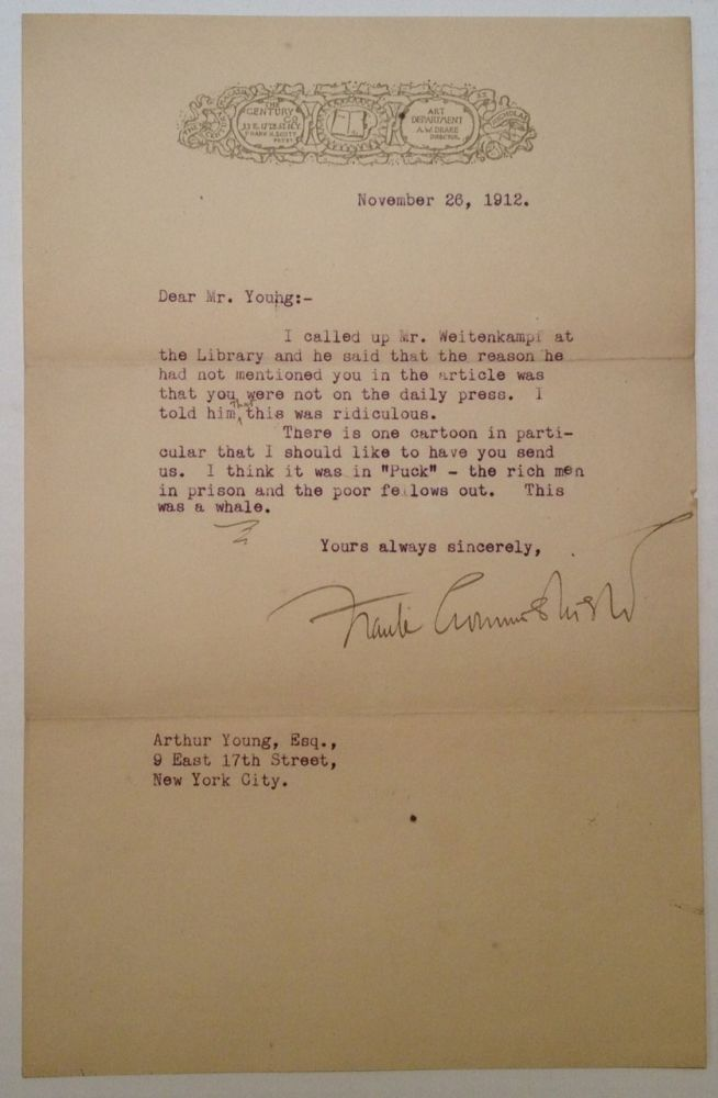Typed Letter Signed to cartoonist Art Young. Frank CROWNINSHIELD, 1872 - 1947.