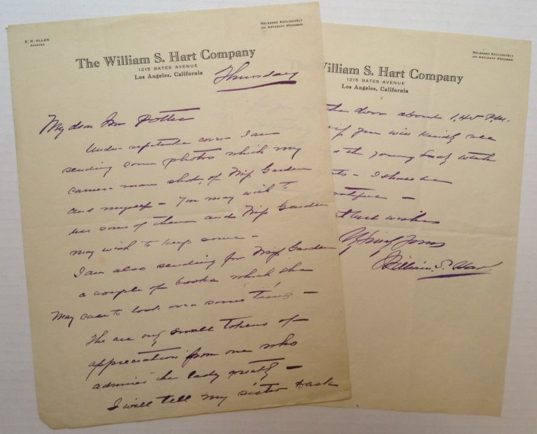 Autographed Letter Signed on company letterhead. William S. HART, 1864 - 1946.