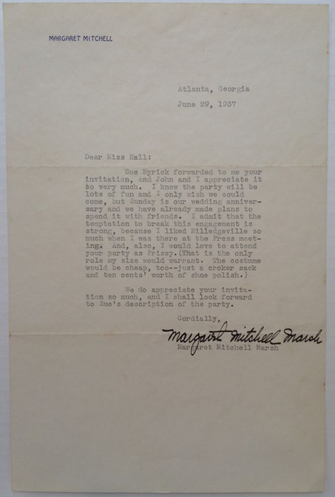 Typed Letter Signed on personal stationery. Margaret MITCHELL, 1900 - 1949.