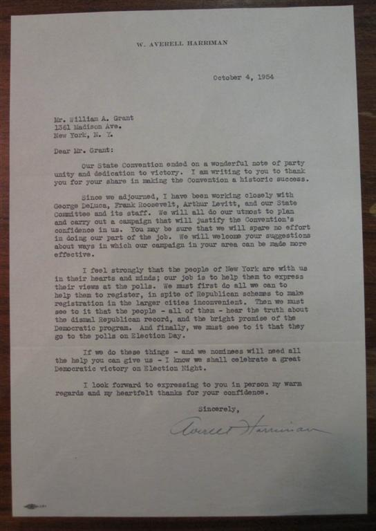 Typed Letter Signed as Governor. W. Averell HARRIMAN, 1891 - 1986.