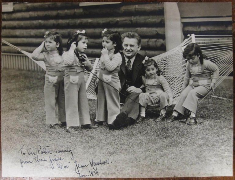 Inscribed Photograph with the Dionne quintuplets. Jean HERSHOLT, 1886 - 1956.