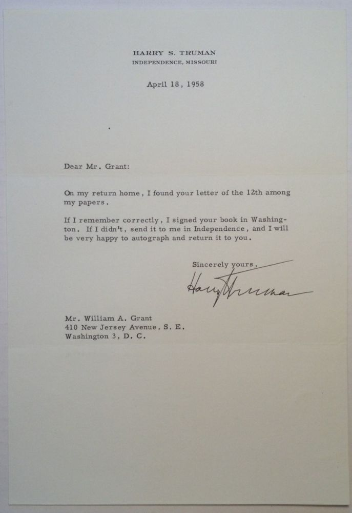 Typed Letter Signed on Personal Stationery. Harry S. TRUMAN, 1884 - 1972.