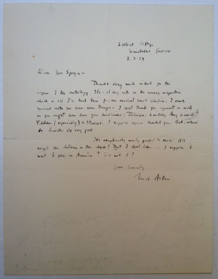 Autographed Letter Signed to Pulitzer Prize-winning poet Leonora Speyer. Conrad AIKEN, 1889 - 1973.