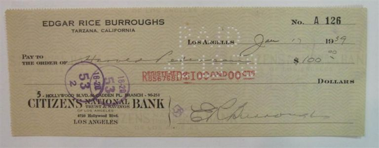 Signed Check. Edgar Rice BURROUGHS.
