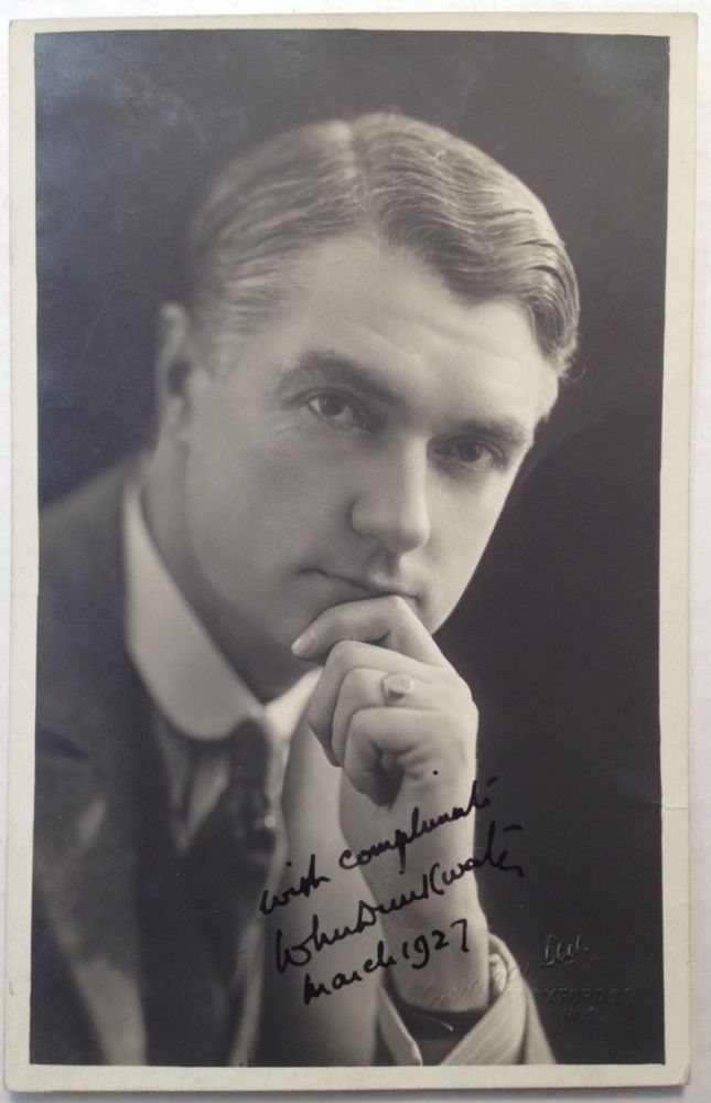 Inscribed Postcard. John DRINKWATER, 1882 - 1937.