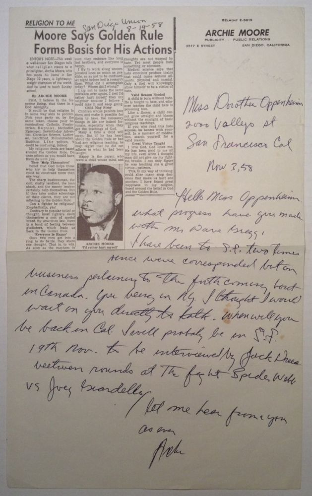 """Autographed Letter Signed """"Archie"""" on his Newspaper Letterhead. Archie MOORE, 1916 - 1998."""