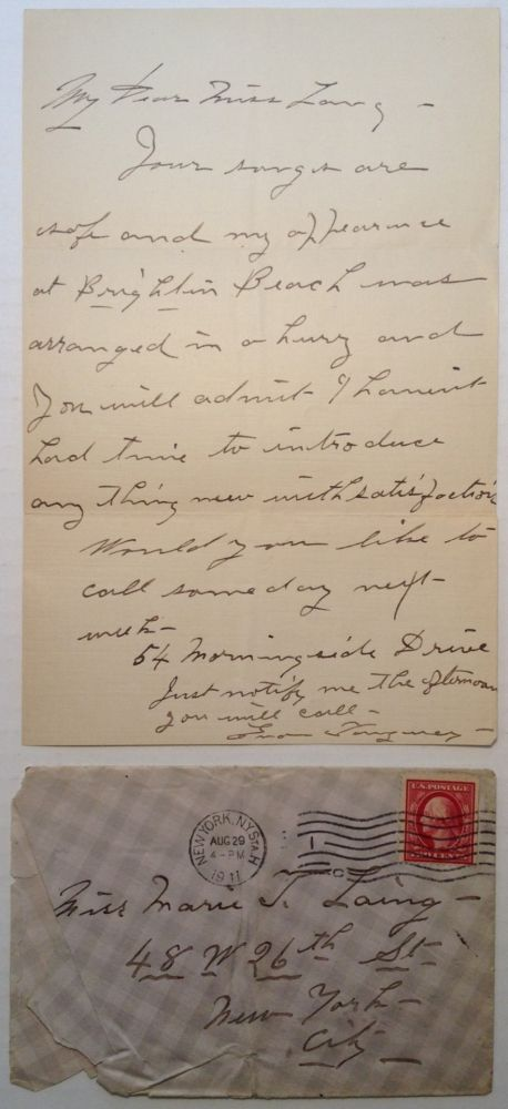 Autographed Note Signed with a Handwritten Envelope. Eva TANGUEY, 1878 - 1947.