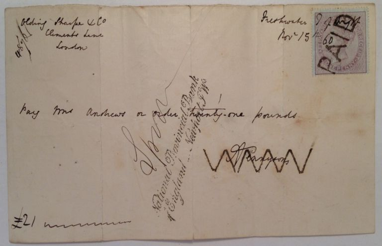 Autographed Envelope. Alfred Lord TENNYSON, 1809 - 1892.