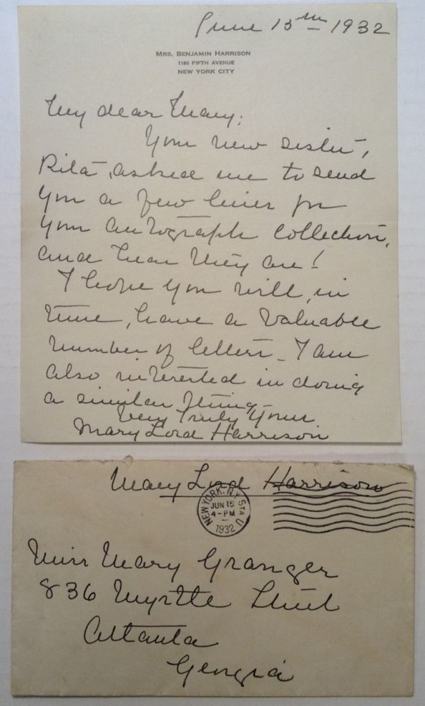 Autographed Letter Signed on personal stationery. Mary Lord HARRISON, 1858 - 1948.