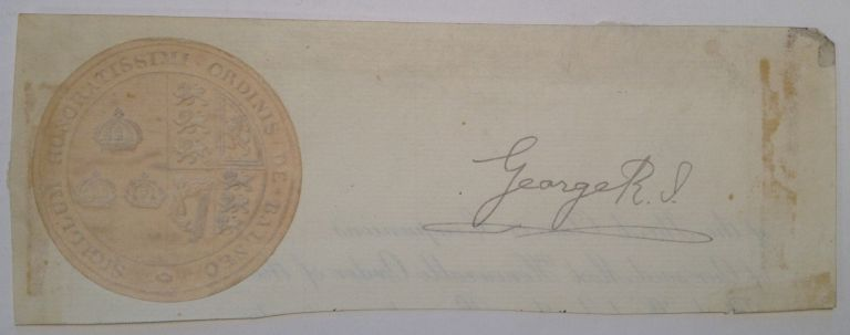 Clipped Signature. GEORGE V., 1865 - 1936.