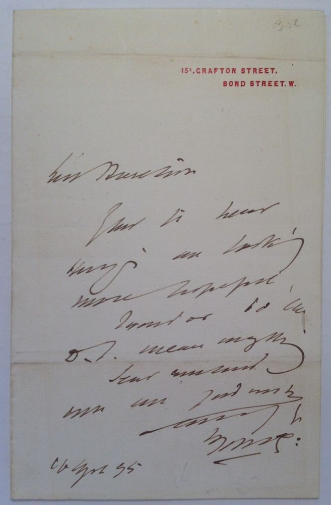 Autographed Letter Signed on personal note paper. Sir Henry IRVING, 1938 - 1905.
