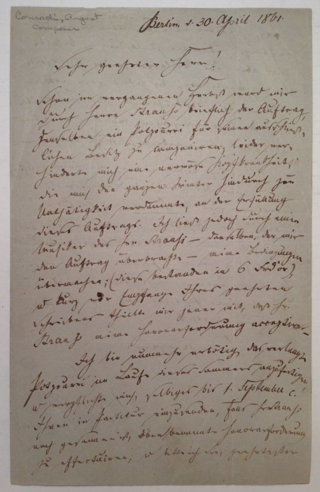 Autographed Letter Signed in German. August CONRADI, 1821 - 1873.