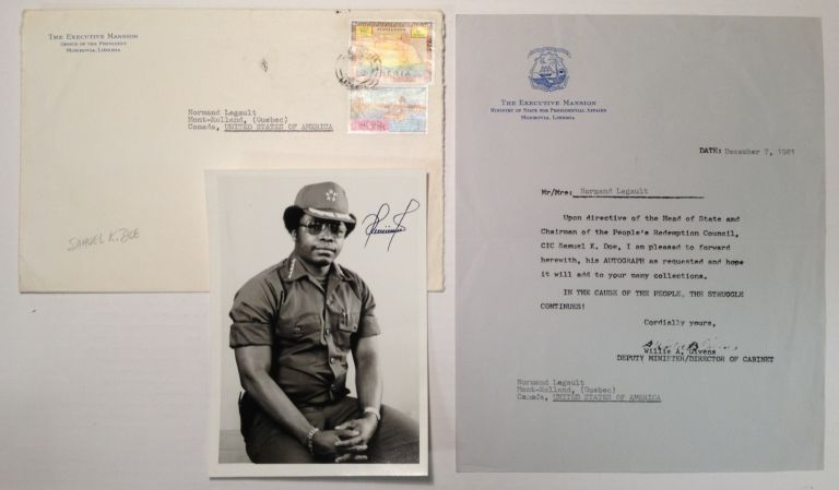 Signed Photograph by the President of Liberia. Samuel K. DOE.