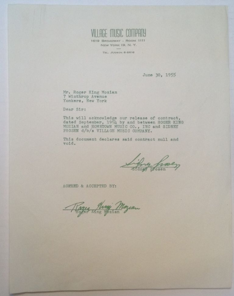 Typed Letter Signed accompanied by a Signed Termination Contract. Roger King MOZIAN, 1927 - 1963.