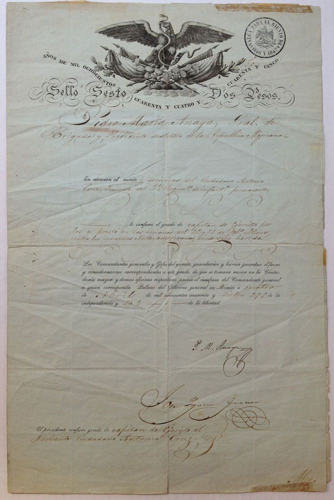 Document Signed by the President of Mexico. Pedro Maria ANAYA, 1795 - 1854.