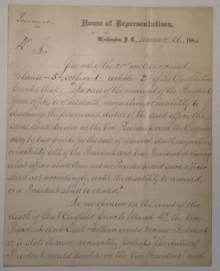 "Autographed Letter Signed on ""House of Representatives"" letterhead. Samuel Jackson RANDALL."
