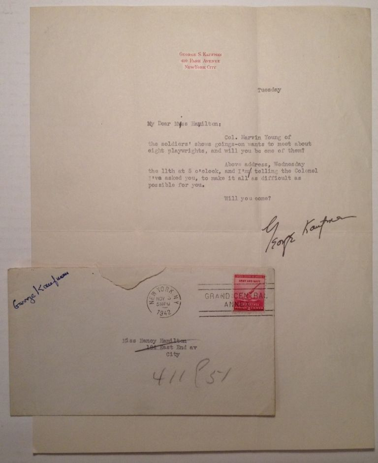 Typed Letter Signed on personal stationery. George S. KAUFMAN, 1889 - 1961.