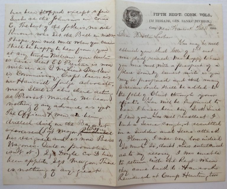 Lengthy Autographed Letter Signed on Union Army letterhead. Selah MERRILL, 1837 - 1909.