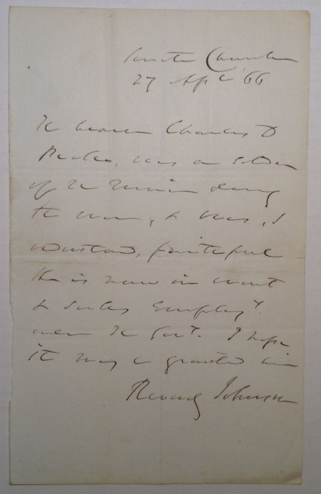 Autographed Letter Signed about a Union Army soldier. Reverdy JOHNSON, 1796 - 1876.