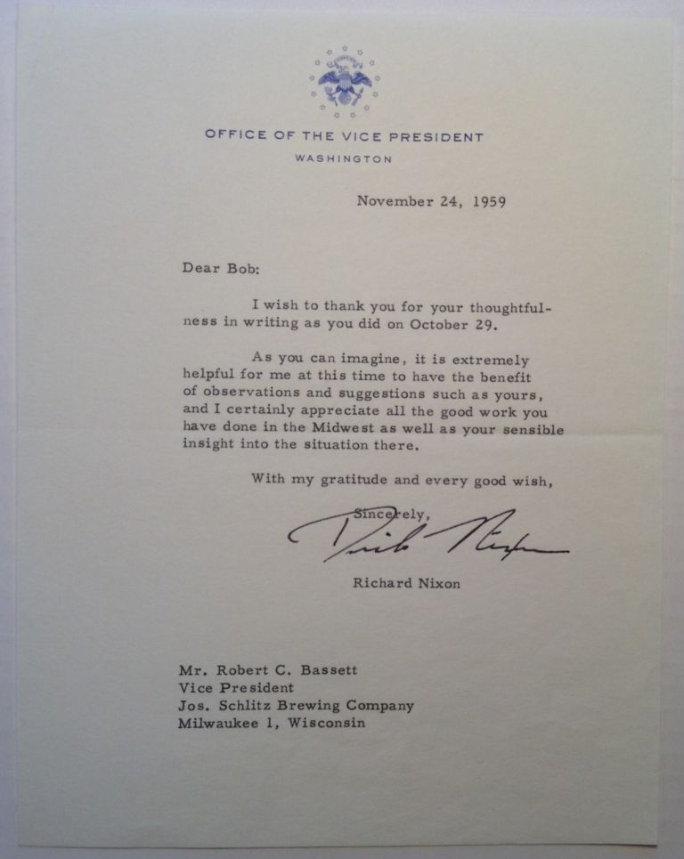 "Typed Letter Signed ""Dick Nixon"" as Vice President. Richard M. NIXON, 1913 - 1994."