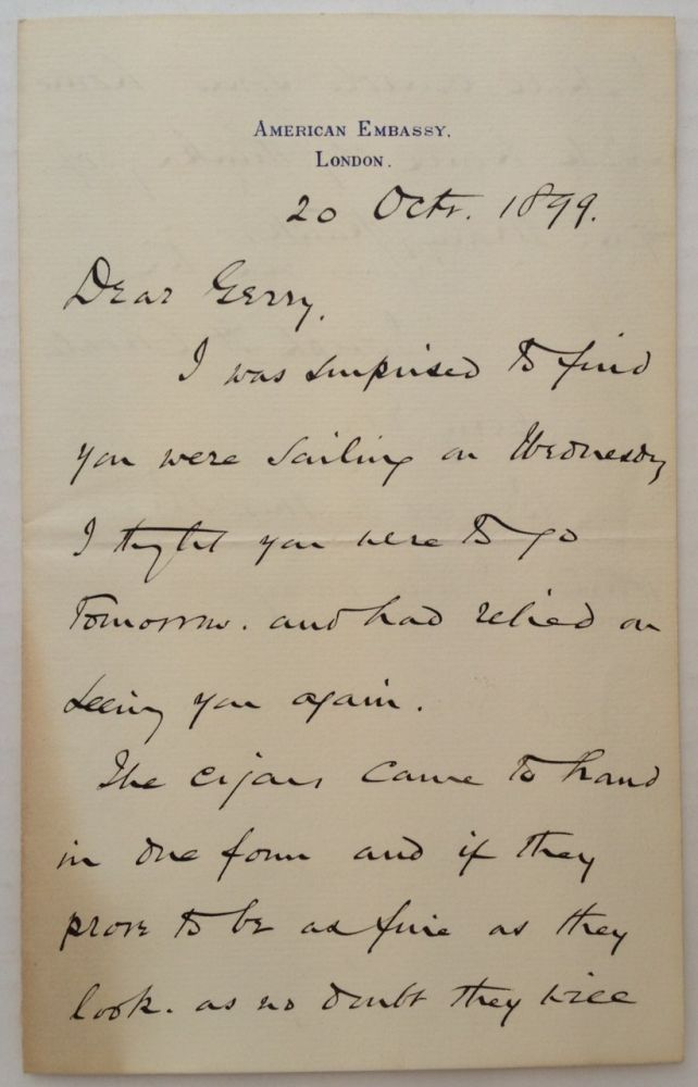 """Autographed Letter Signed on """"American Embassy"""" letterhead. Joseph H. CHOATE, 1832 - 1917."""