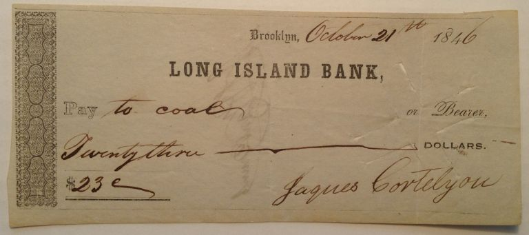 Signed Canceled Check. Jacques CORTELYOU, 1796 - 1891.
