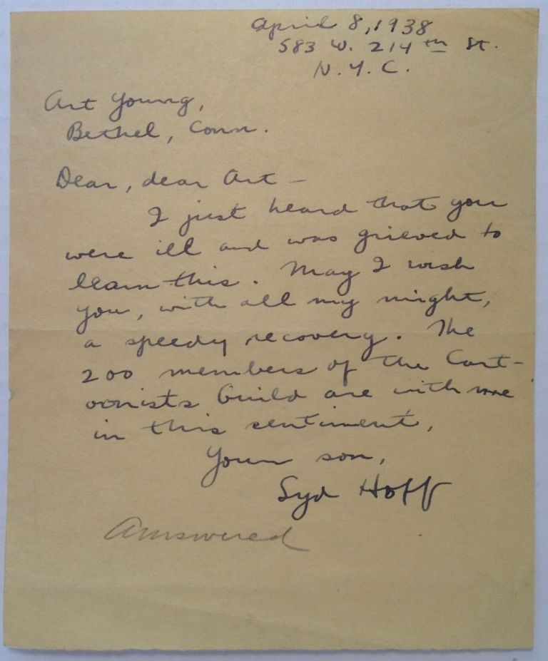 Autographed Letter Signed to cartoonist Art Young. Syd HOFF, 1912 - 2004.