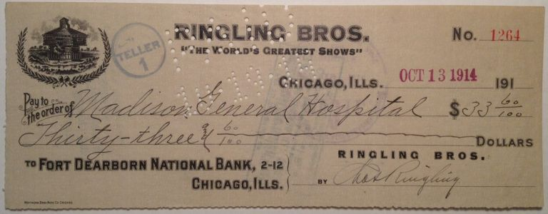 """Signed Cancelled """"Ringling Bros"""" Check. Charles Edward RINGLING, 1863 - 1926."""