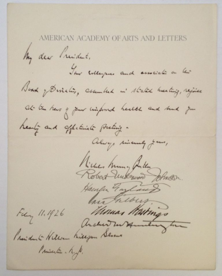 Autographed Letter Signed to Princeton president William Milligan. Nicholas Murray BUTLER, Robert, JOHNSON.