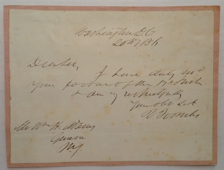 Autographed Note Signed. Robert Augustus TOOMBS, 1810 - 1885.
