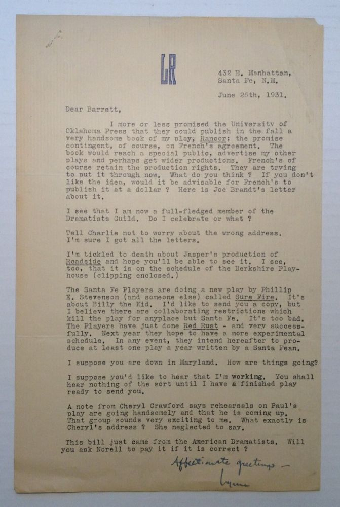 Typed Letter Signed with theatre news. Lynn RIGGS.