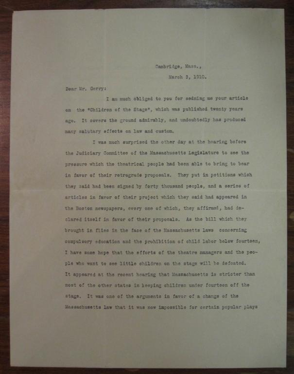 Typed Letter Signed about child labor laws. Charles W. ELIOT, 1834 - 1926.
