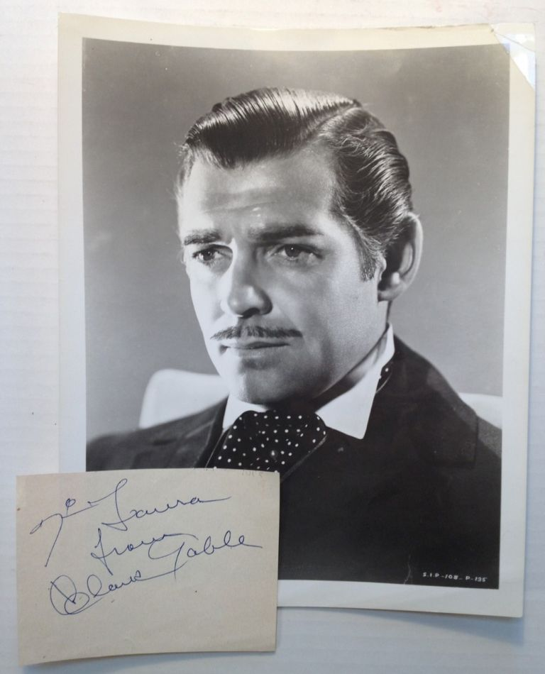 Autographed Note Signed with a Photograph. Clark GABLE, 1901 - 1960.