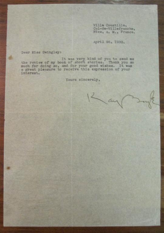 Early Typed Letter Signed. Kay BOYLE, 1902 - 1992.