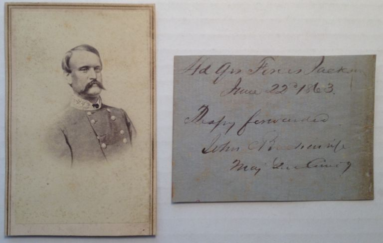 Autographed Note Signed with a fine Carte-de-Visite Bust Portrait. John C. BRECKINRIDGE, 1821 - 1875.