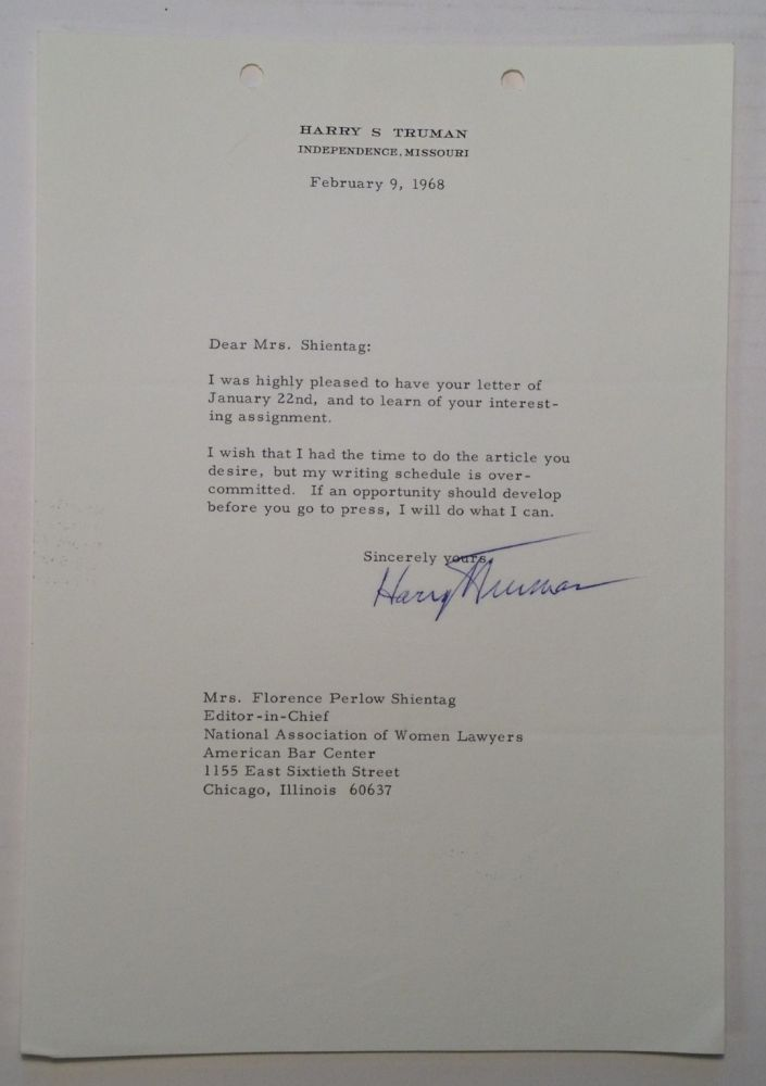 Typed Letter Signed to Florence Shientag. Harry S. TRUMAN, 1884 - 1972.