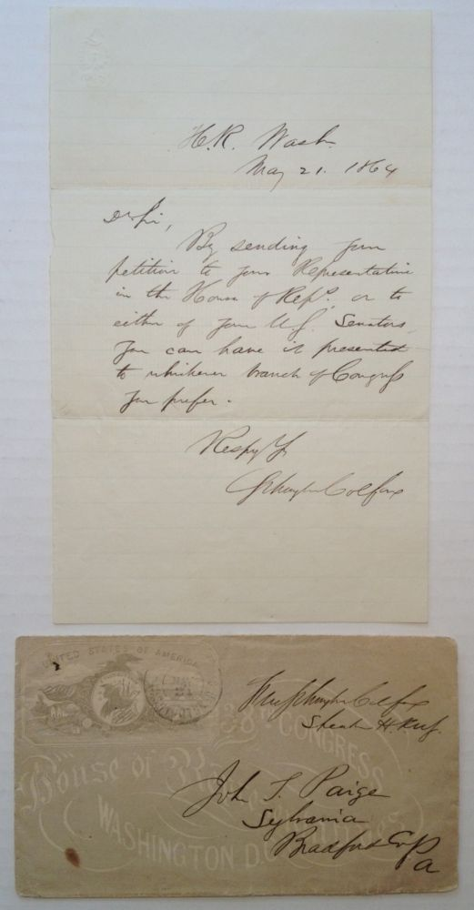 Autographed Letter Signed. Schuyler COLFAX, 1823 - 1885.