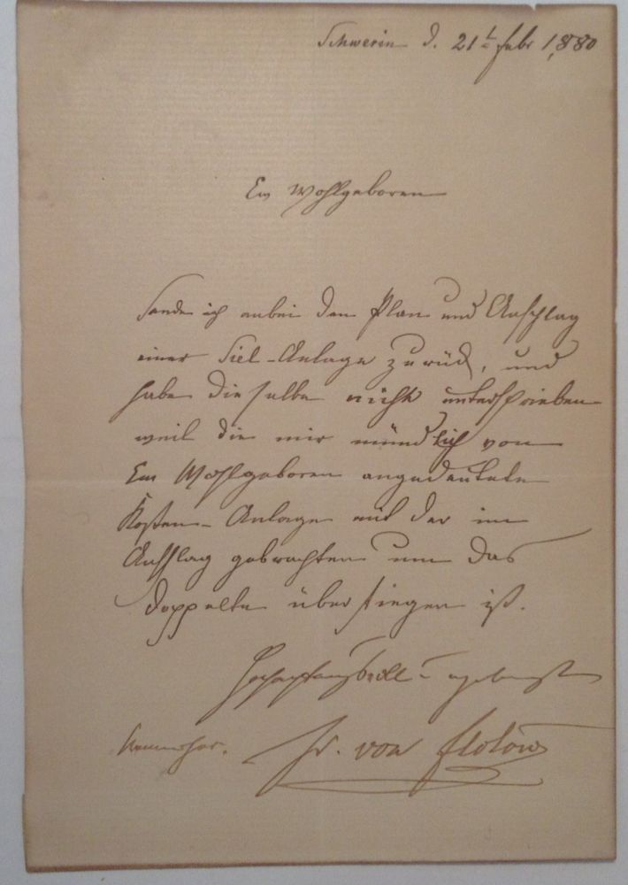 Autographed Letter Signed in old German. Friedrich VON FLOTOW, Baron, 1812 - 1883.