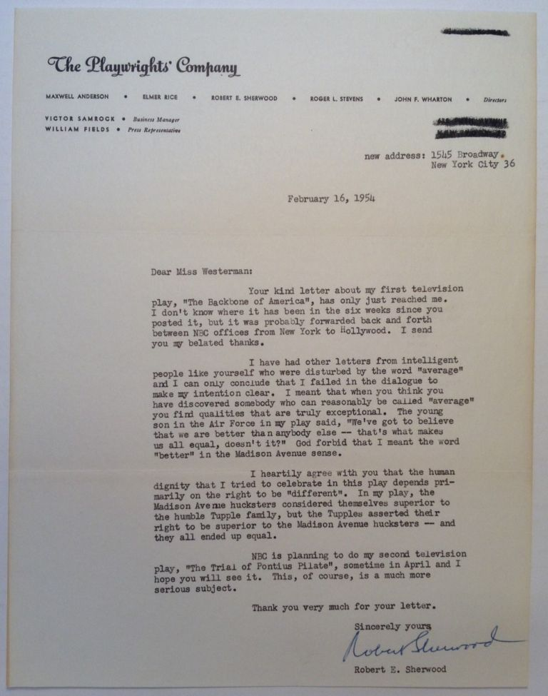 """Typed Letter Signed on """"The Playwrights' Company"""" letterhead. Robert E. SHERWOOD."""